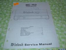 McIntosh MC 752 Factory Service Manual  (Paper READ LISTING!)