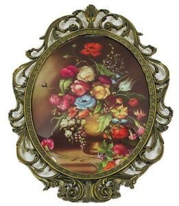 VTG Floral Oval Pictures Brass Frames Bubble Convex Glass Italy Victorian Art