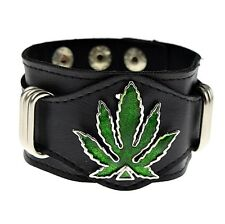 Green Marijuana Leaf Bracelet Weed 420 Pot Cannabis Kush Black Leather Wide Cuff