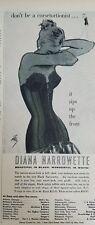 1956 Mujer Diana Narrowette Negro Faja Bra Moda Vintage Arte Anuncio