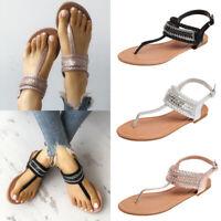 Women's Sandals Slingbacks Bohemian Casual Flats Shoes Thong Flip Flops Size 6-9