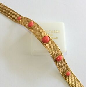 Vintage Jewellery Gorgeous Gold Plate Mesh Coral Lucite Cabochon Choker Necklace