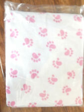 NEW PANDA PAWS FLANNEL FABRIC WHITE BACKGROUND WITH PINK PAWS