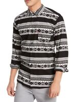Levi's Mens Casual Shirt Black Size Large L Button Down Tribal Pocket $54 #127