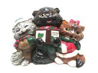 Vintage 1980s Christmas Caroling Cats Kittens Trio Albertas Mold Holiday Decor