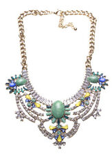 Allison Blue Stone Centre/ 3 Parts Bib & Stone Feature Statement Necklace(Ns14)