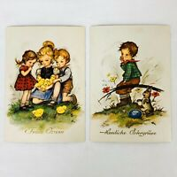 Vintage Hummel Easter Postcards Artist Signed Hilde West Germany Lot of 2