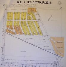 New listing 1929 Antique Milwaukee Wi Wisconsin Plat Survey on Linen Lincoln Park Evergreen