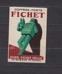 Ancienne  étiquette  Allumettes France Coffre Fort Fichet  Années 30
