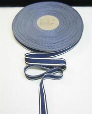 "5/8"" Navy & White Grosgrain Ribbon Penn State Bows Sewing Trimming 10 yards"