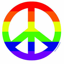 Peace Sign Symbol Rainbow Gay BUMPER STICKER 4in square peace equality LGBTQ