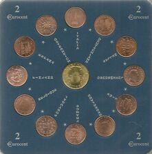 SERIE EURO 13 MONETE IN FOLDER CONTENENTI TUTTE 12 LE MONETE DA 2 EUROCENT FDC