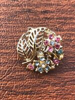 Vintage Gold Tone Filigree Leaf Faux Pearl & Rhinestone Flowers Brooch Pin 1""