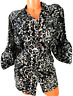 Croft & barrow black white abstract 3/4 sleeves plus size buttoned down top 1X