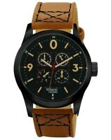 Men's Casual Watch Milano MC46654, Brown Faux Leather Band Water Resistant 1 ATM