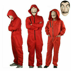 Adults/Kids Salvador Dali La Casa De Papel Cosplay Costume Money Heist with Mask
