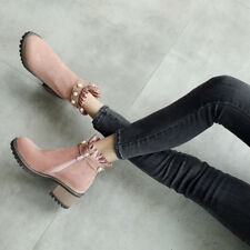 Women Lace Faux Pearl Ankle Boots Round Toe Chunky Heel Suede Shoes Plus Size
