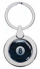 POOL BALL NO8 CHROME KEYRING