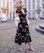 BLOGGERS FAV! ZARA BLACK LONG FLORAL PRINTED V-NECK DRESS, SIZE L / UK 12 14