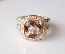 David Yurman Sterling Silver Albion Ring 11mm with Morganite and Rose Gold Sz 8