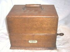 EARLY EDISON STANDARD SQUARE CASE A 2 CLIP PHONOGRAPH , NICE EARLY DEALER TAG