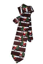 Hergestellt Necktie Christmas Santa Xmas Tree Maroon Novelty Fun TIE