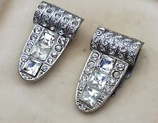 VINTAGE ART DECO JEWELLERY LOVELY PAIR OF RHINESTONE SILVER BROOCH SHAWL CLIPS