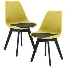 [en.casa] Set de 2 sillas de comedor mostaza para salón cocina piel sintética