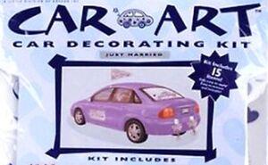 CAR ART 15 Piece Car Decorating Kit JUST MARRIED Wedding Marriage REUSABLE