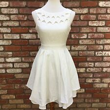 Lulu's White Layered Dress With Chest Cutouts & Exposed Back Zipper Size Small