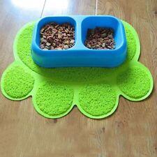 Green Paw Shaped PVC Cat Dog Mat Non-slip Pet Food Water Bowl Feeding Placemat