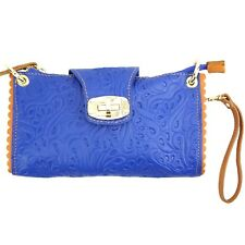 TJS Genuine Leather Bag Clutch Purse Pattern Handmade in Italy Electric Blue Tan
