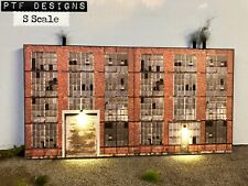 S Scale Industrial #1 Building Flat / Front 3D Background w/ Led, Factory