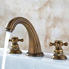 Vintage Double Cross Handle Mixer Tap Widespread 3 Hole Bathroom Basin Faucet