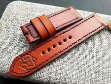 26mm Vintage hecha a mano de cuero reloj correa, op logotipo, Panerai, Naranja