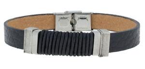 Clochard Fashion Bracelet Rindöleder Structured Stainless Steel 21 CM Adjustable