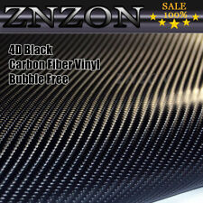 "4D Glossy Black 24""x60"" Carbon Fiber Vinyl Wrap Car DIY Sticker Air Release New"