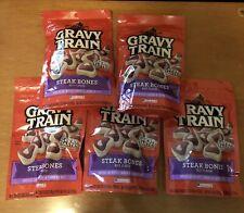 5 Pack Of Gravy train steak bones beef flavor Dog treats Food new