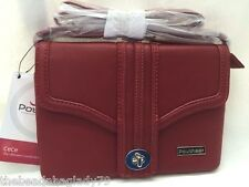 NEW POUCHEE CeCe BAG CLUTCH CROSSBODY FAUX LEATHER MARSALA RED Purse Organizer