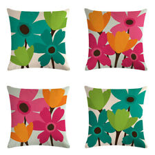 Abstract Flower Cushion Floral Print Home Sofa Decor Cover Linen Pillowcase YI