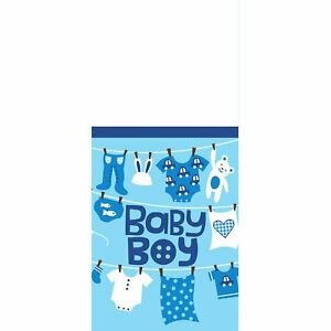 Cute as Button Boy Clothesline Teddy Bear Baby Shower Party Plastic Tablecover