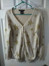 United States Sweaters Size M Tan With Gold Stars Button Down