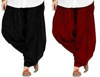 Women's Soft Cotton Patiala Bottom Salwar Pack Of 2 (Black, Maroon_Free Size)