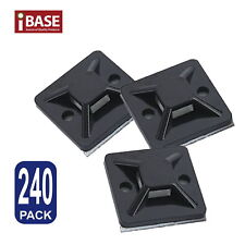 240x Wire Cable Zip Tie Holder Self Adhesive Mounting Base Clip Retardant Black