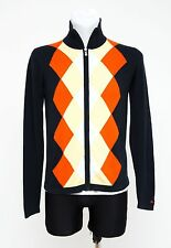 MENS BEN SHERMAN ZIP CARDIGAN 100 % COTTON JUMPER BLACK ORANGE ARGYLE S SMALL