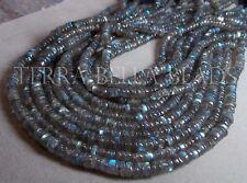 "8"" strand LABRADORITE smooth heishi rondelle gem stone beads 5mm blue green"