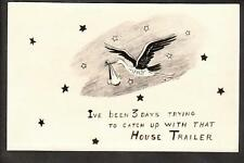 c.1940 real photo Stork chasing house trailer comic new baby arrival postcard