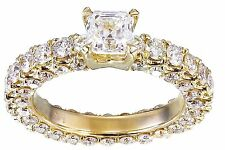14K Oro Giallo Asscher Forever una Moissanite Anello di Fidanzamento con