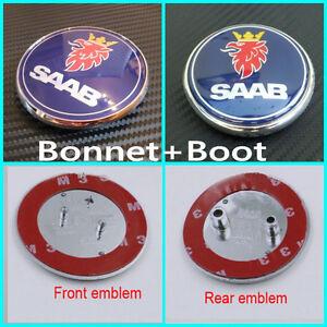New 2x Saab 68mm Front Bonnet and Rear Boot Badge Emblem 93 9-3 95 9-5 2003-2010