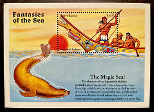 SIERRA LEONE FANTASIES OF THE SEA STAMPS SS 1996 MNH SQUAMISH INDIAN MAGIC SEAL